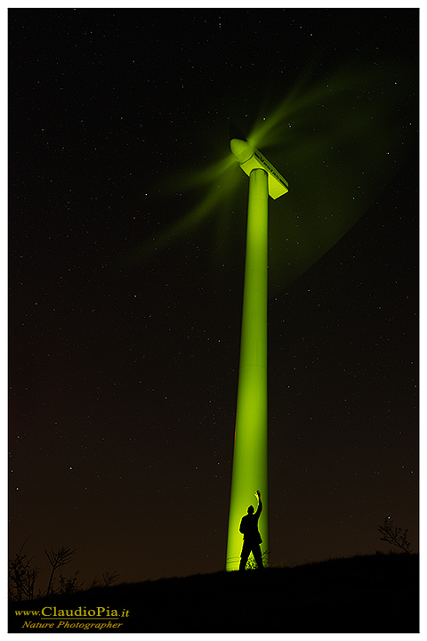 night photography, star, notte, notturna, startrail, nature, night, light painting, stelle, dark, windmill, green energy